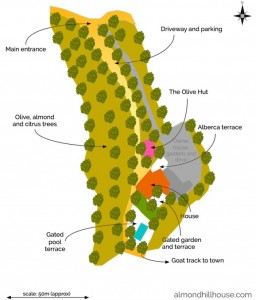 Layout of Almond Hill House grounds