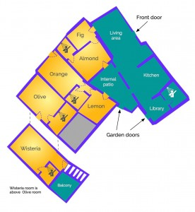 House layout at Almond Hill House, Andalucia, Spain