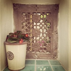 Old Rajasthani stone window at Almond Hill House, Andalucia, Spain