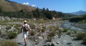 Walker at the Rio Guadelfeo, Andalucia, Spain