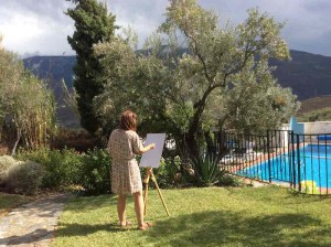Painting on the lawn Almond Hill House, Andalucia, Spain