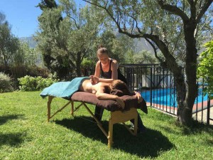 Massage on the lawn at Almond Hill House, Andalucia, Spain