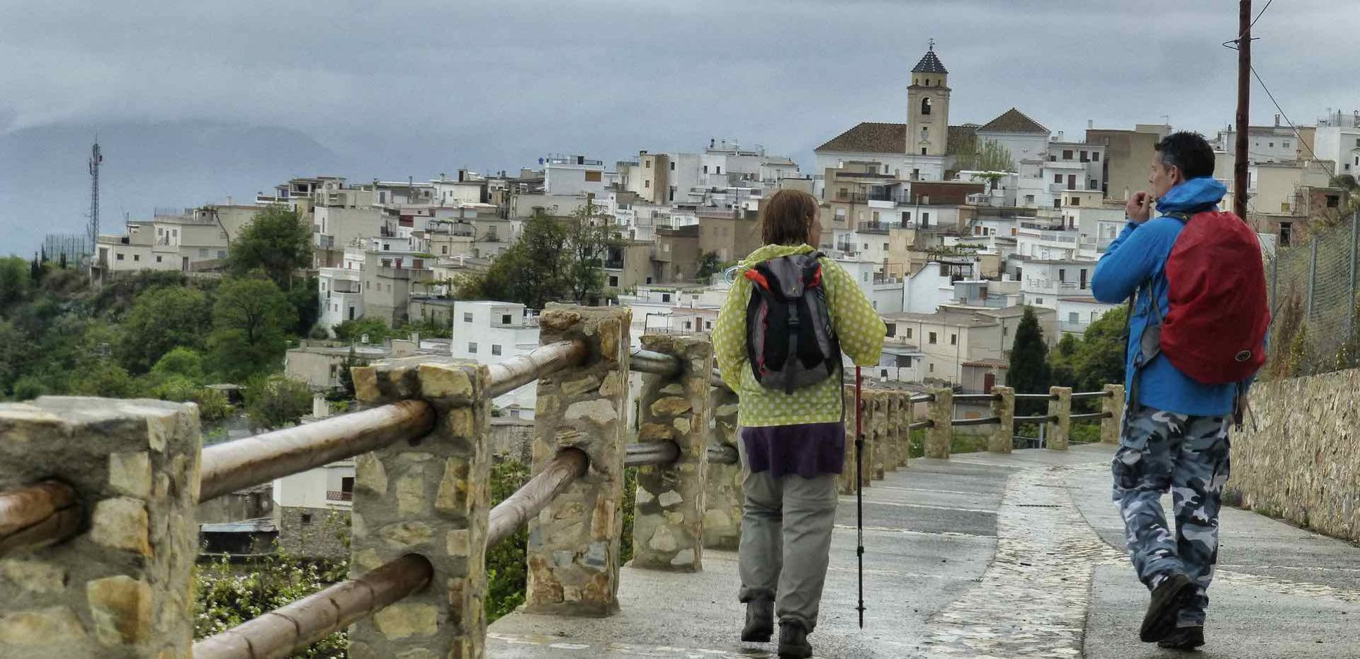 Walkers on the GR7 route Andalucia