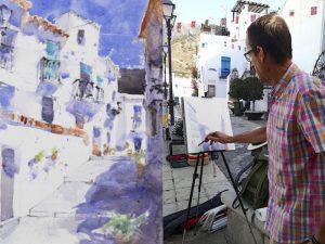 Watercolour artist Klaus Hinkel at work